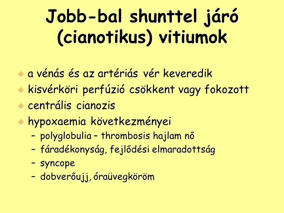 Jobb-bal shunttel járó (cianotikus) vitiumok
