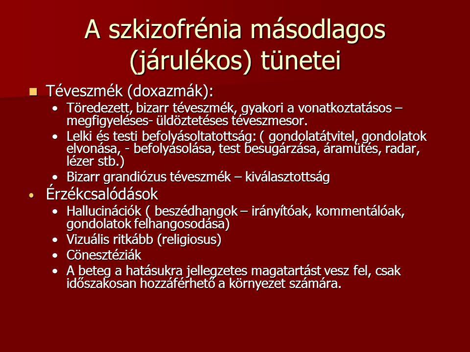 A szkizofrénia másodlagos (járulékos) tünetei