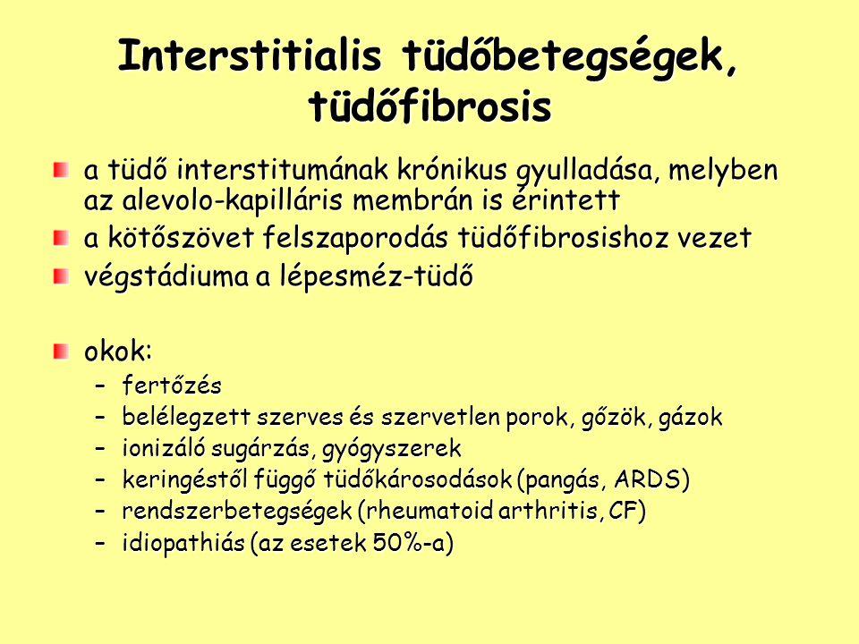 Interstitialis tüdőbetegségek, tüdőfibrosis