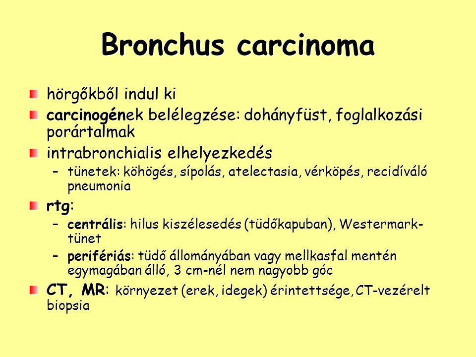 Bronchus carcinoma hörgőkből indul ki