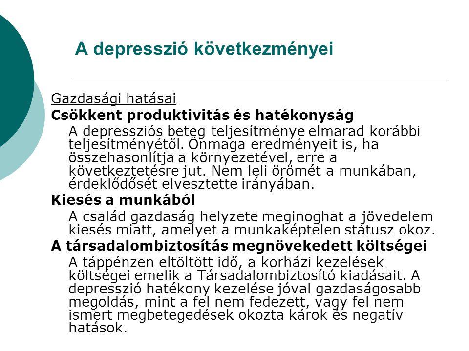 A depresszió következményei