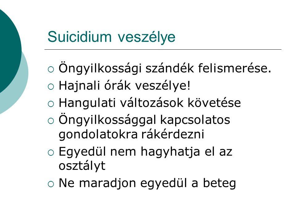 Suicidium veszélye Öngyilkossági szándék felismerése.