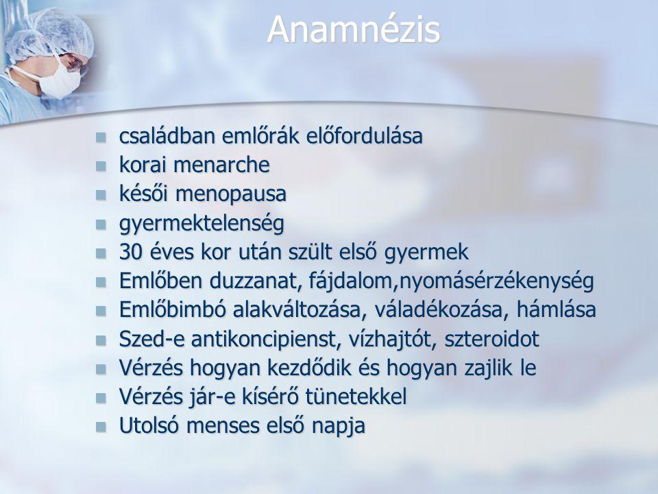Anamnézis családban emlőrák előfordulása korai menarche