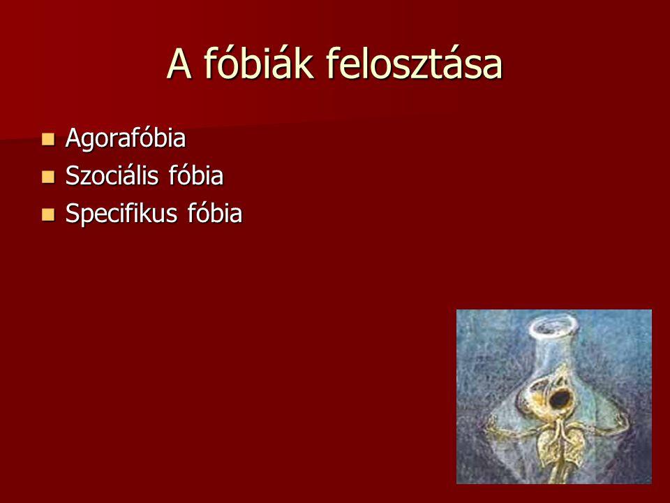 A fóbiák felosztása Agorafóbia Szociális fóbia Specifikus fóbia