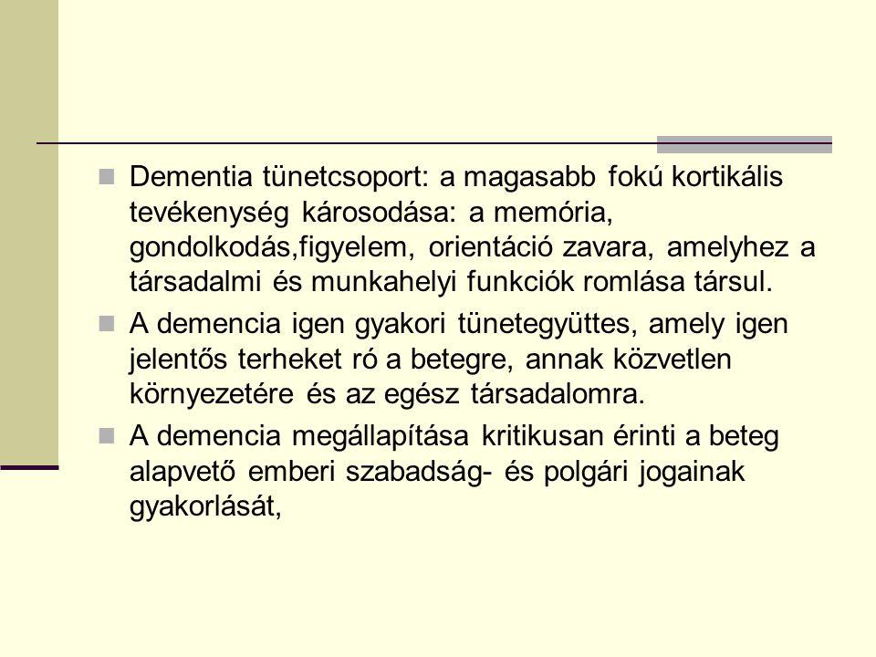Dementia tünetcsoport: a magasabb fokú kortikális tevékenység károsodása: a memória, gondolkodás,figyelem, orientáció zavara, amelyhez a társadalmi és munkahelyi funkciók romlása társul.
