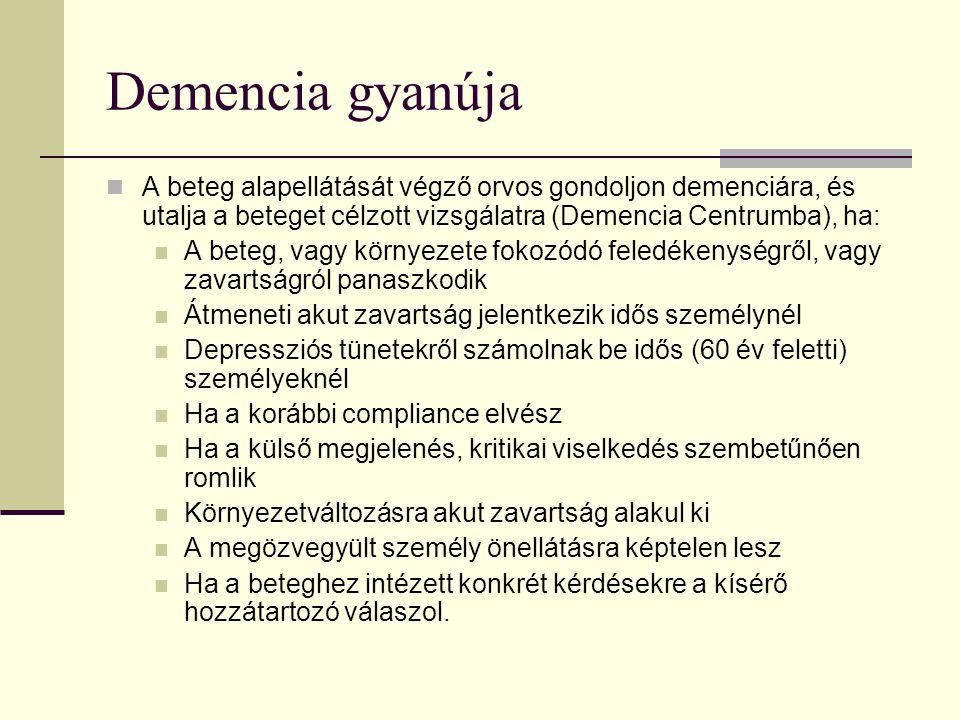 Demencia gyanúja A beteg alapellátását végző orvos gondoljon demenciára, és utalja a beteget célzott vizsgálatra (Demencia Centrumba), ha: