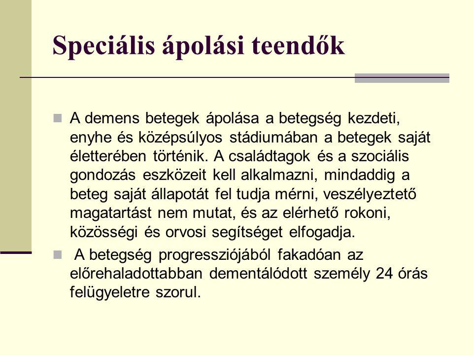 Speciális ápolási teendők