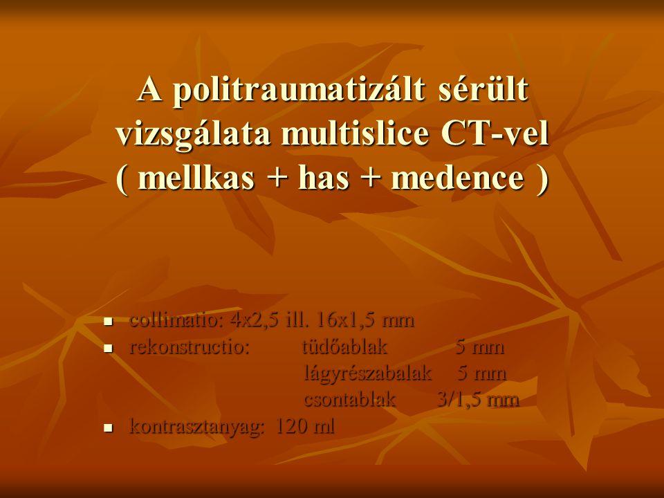 A politraumatizált sérült vizsgálata multislice CT-vel ( mellkas + has + medence )