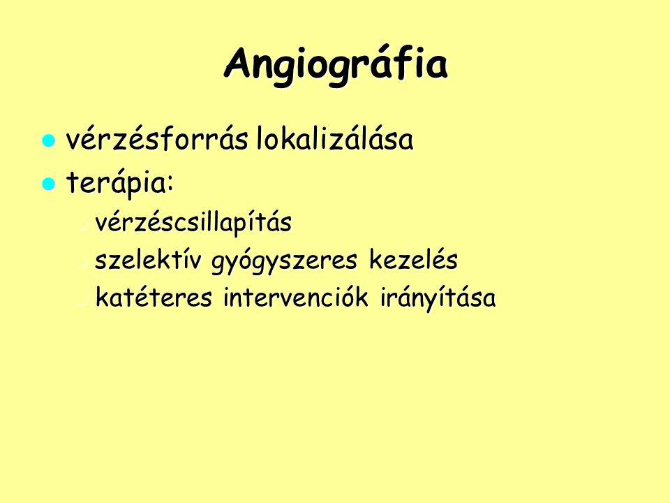 Angiográfia vérzésforrás lokalizálása terápia: vérzéscsillapítás