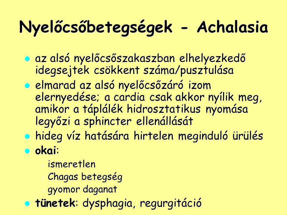 Nyelőcsőbetegségek - Achalasia