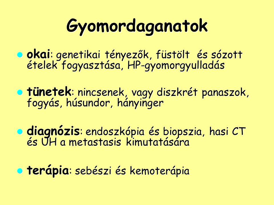Gyomordaganatok okai: genetikai tényezők, füstölt és sózott ételek fogyasztása, HP-gyomorgyulladás.
