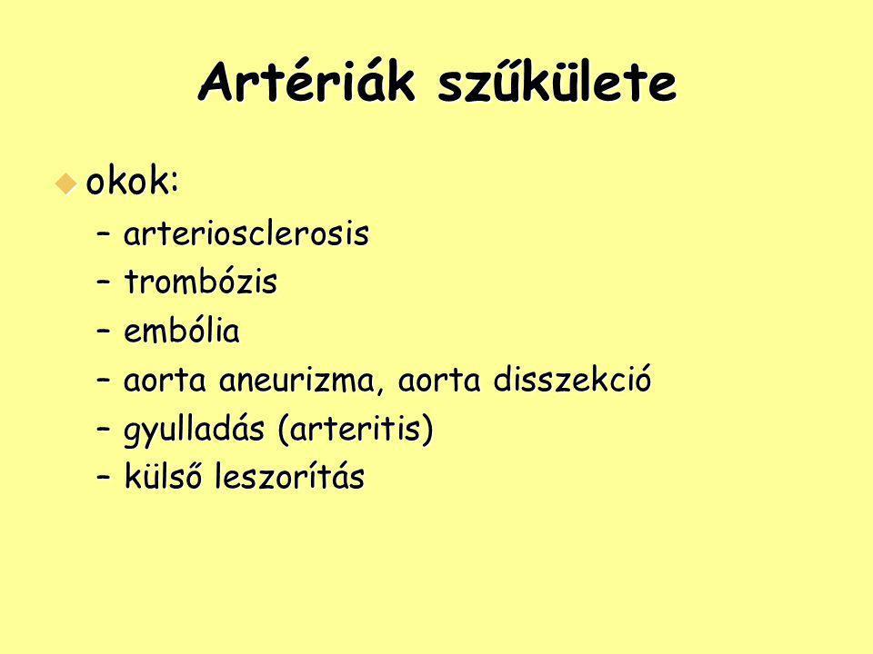 Artériák szűkülete okok: arteriosclerosis trombózis embólia