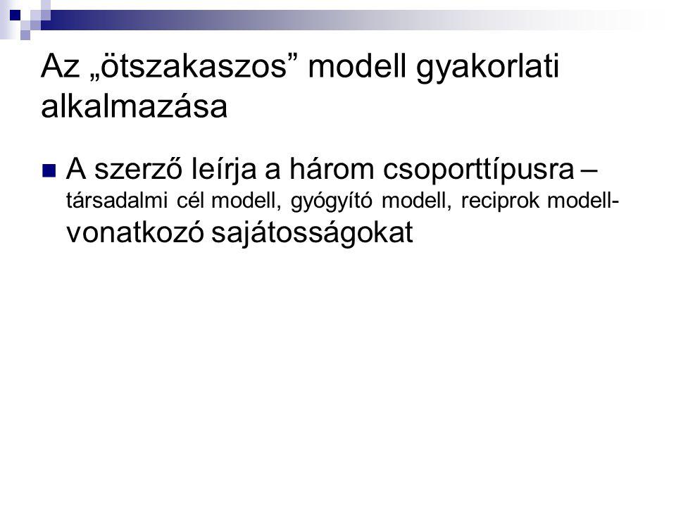 """Az """"ötszakaszos modell gyakorlati alkalmazása"""