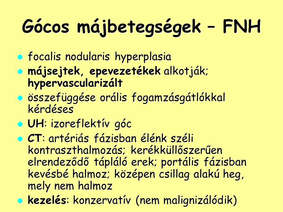 Gócos májbetegségek – FNH
