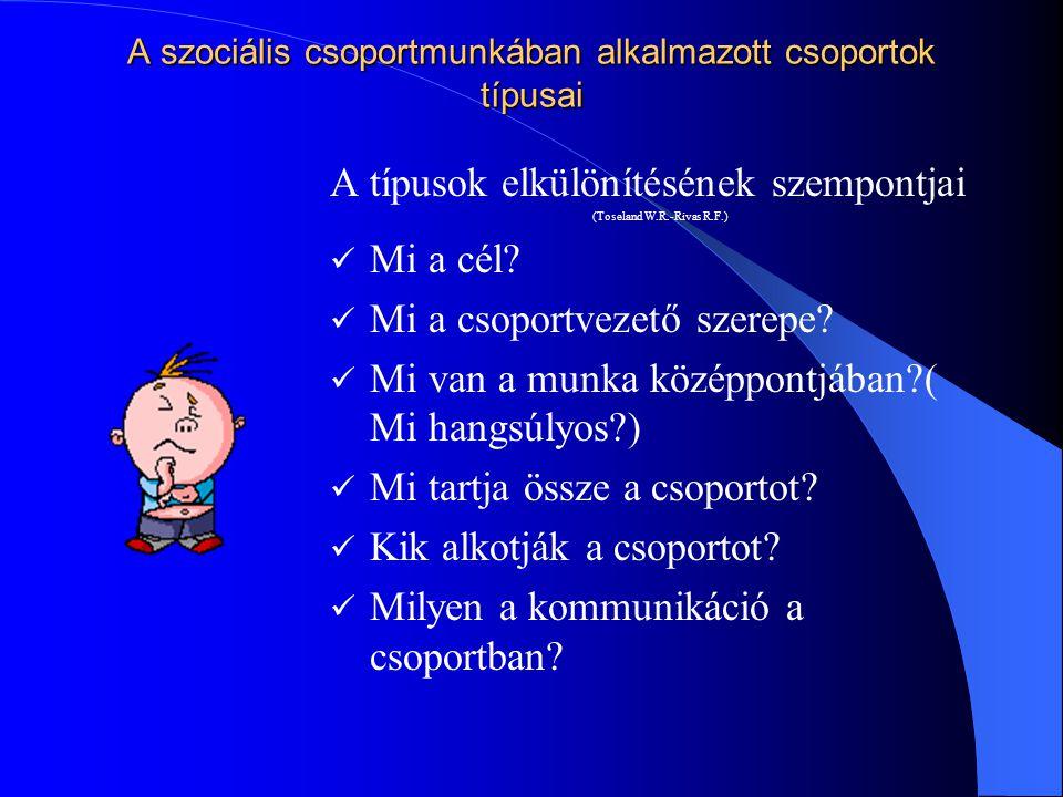 A szociális csoportmunkában alkalmazott csoportok típusai