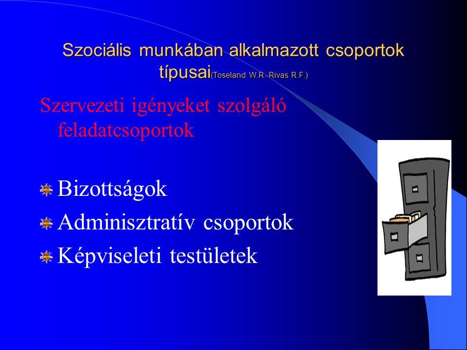 Adminisztratív csoportok Képviseleti testületek