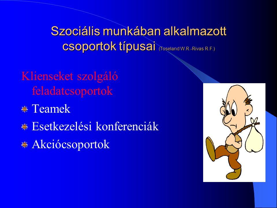 Szociális munkában alkalmazott csoportok típusai (Toseland W. R
