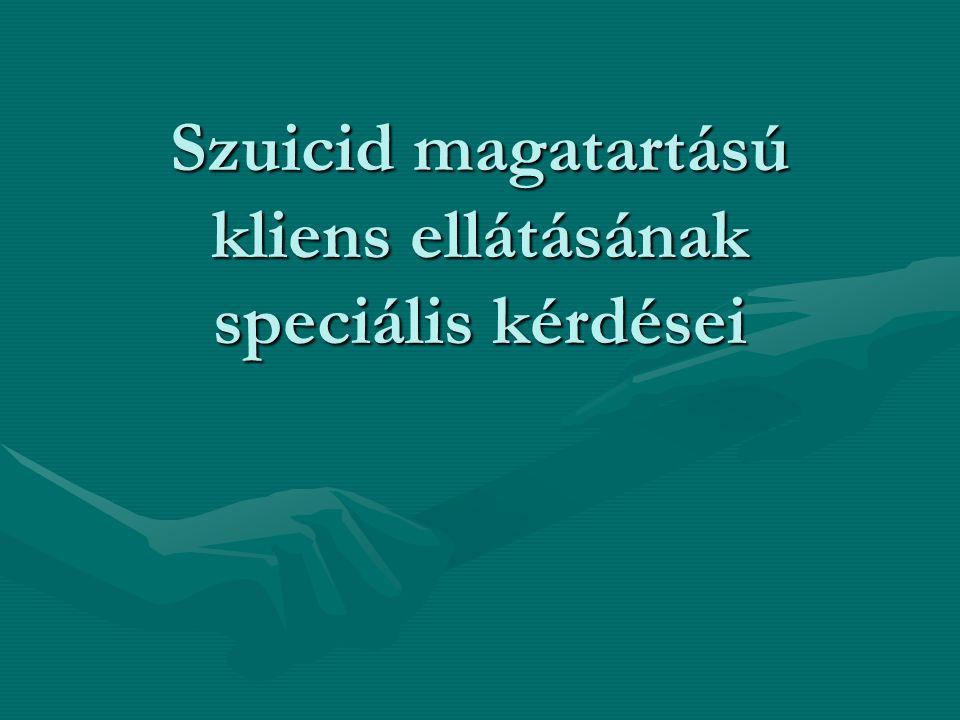 Szuicid magatartású kliens ellátásának speciális kérdései