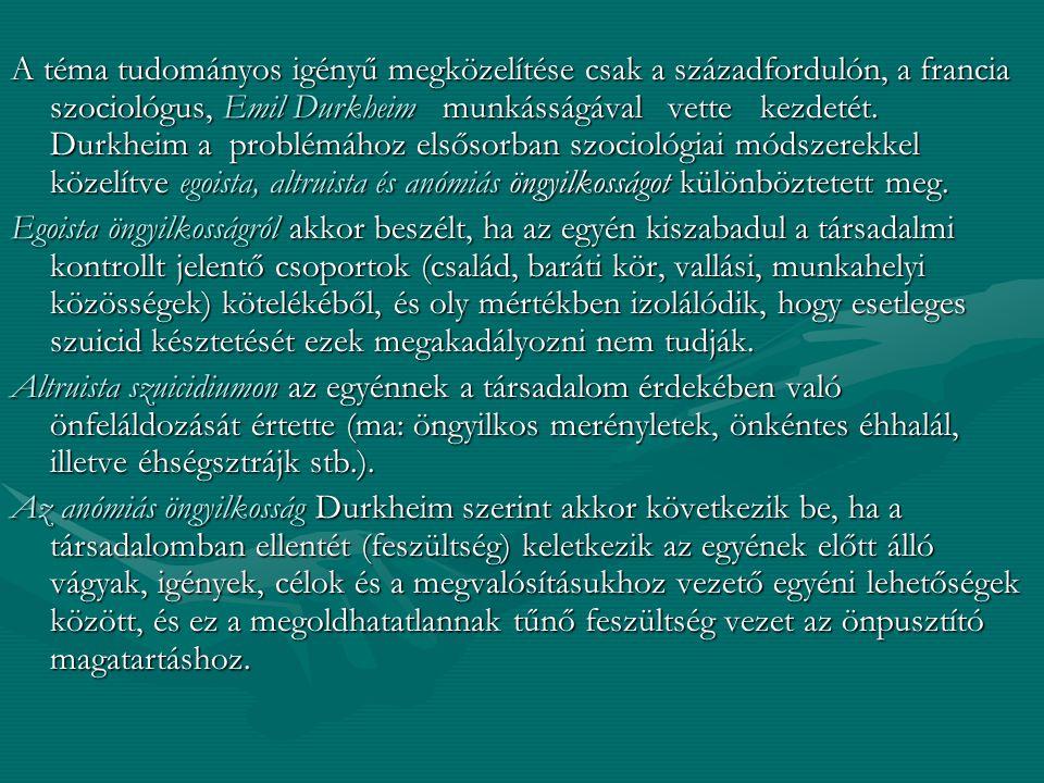 A téma tudományos igényű megközelítése csak a századfordulón, a francia szociológus, Emil Durkheim munkásságával vette kezdetét. Durkheim a problémához elsősorban szociológiai módszerekkel közelítve egoista, altruista és anómiás öngyilkosságot különböztetett meg.