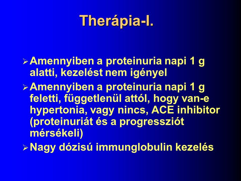 Therápia-I. Amennyiben a proteinuria napi 1 g alatti, kezelést nem igényel.