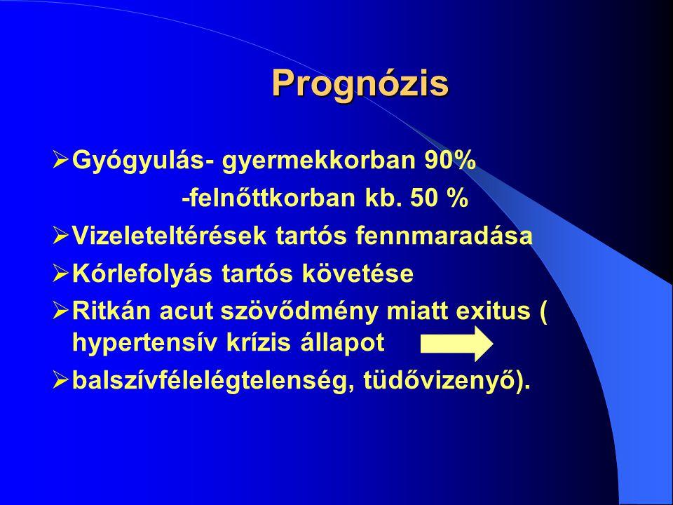 Prognózis Gyógyulás- gyermekkorban 90% -felnőttkorban kb. 50 %