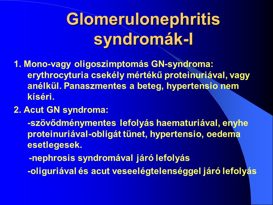 Glomerulonephritis syndromák-I