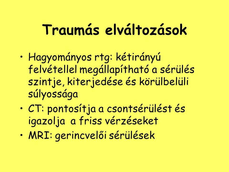 Traumás elváltozások Hagyományos rtg: kétirányú felvétellel megállapítható a sérülés szintje, kiterjedése és körülbelüli súlyossága.