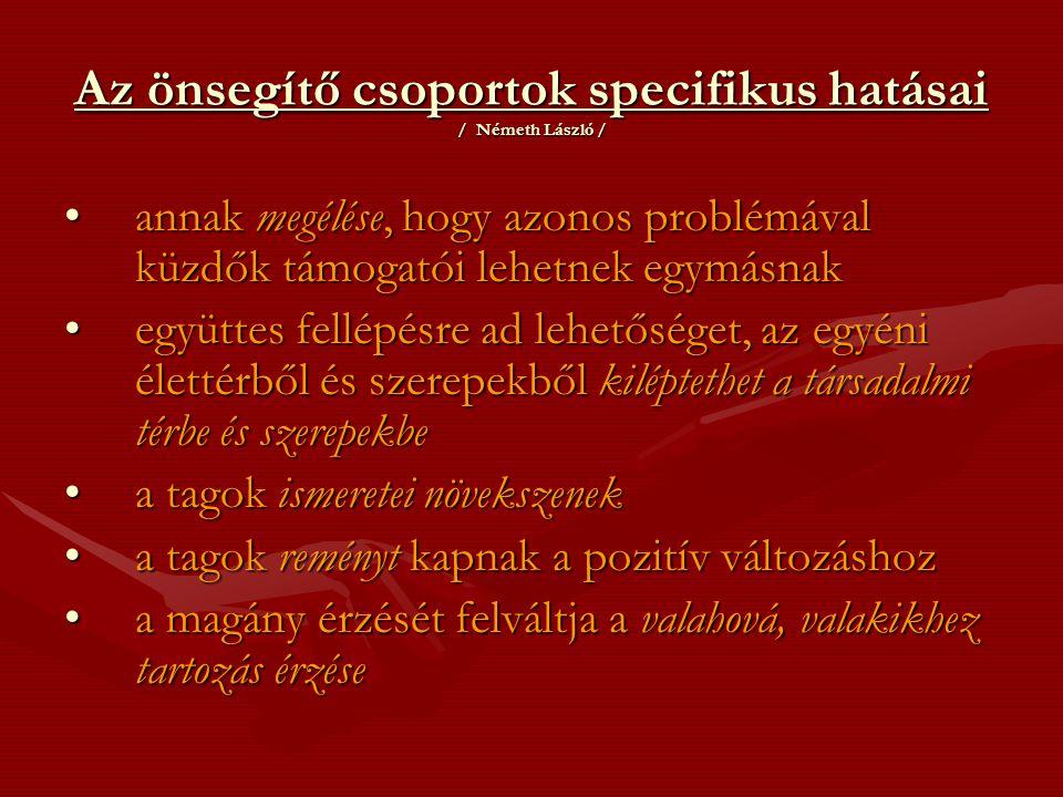 Az önsegítő csoportok specifikus hatásai / Németh László /