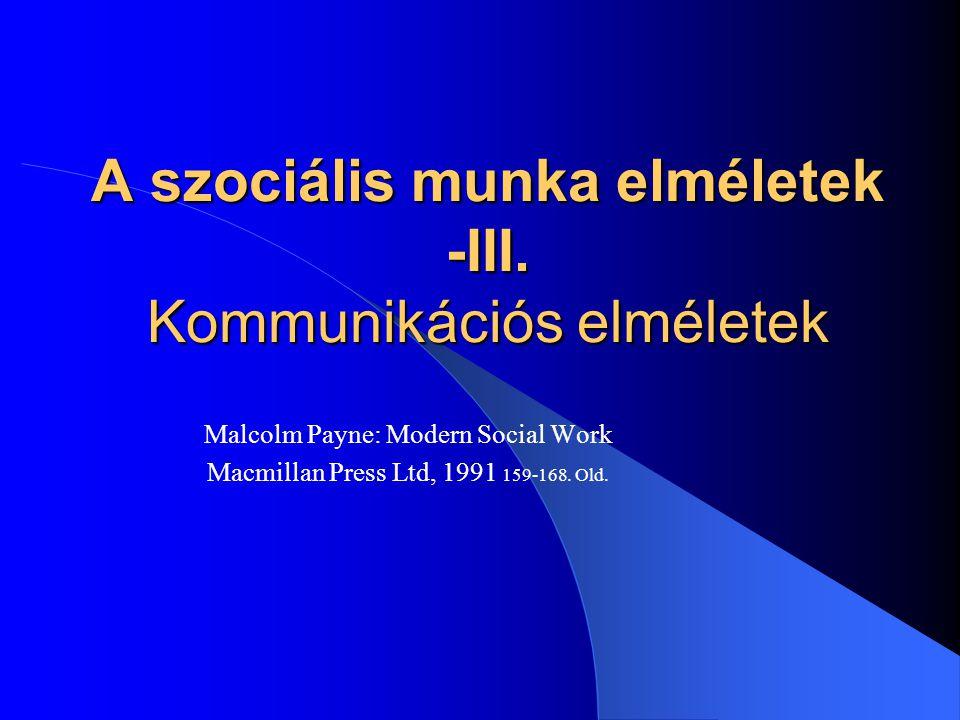 A szociális munka elméletek -III. Kommunikációs elméletek