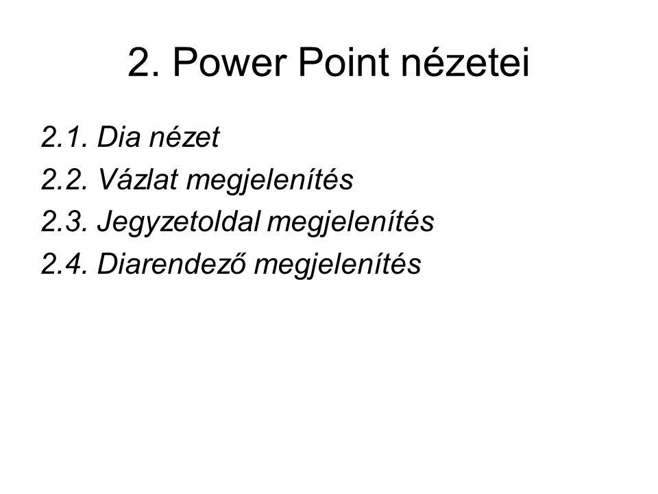 2. Power Point nézetei 2.1. Dia nézet 2.2. Vázlat megjelenítés