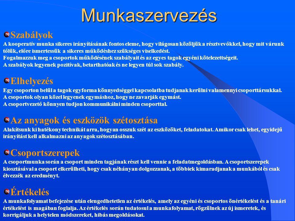 Munkaszervezés Szabályok Elhelyezés Az anyagok és eszközök szétosztása