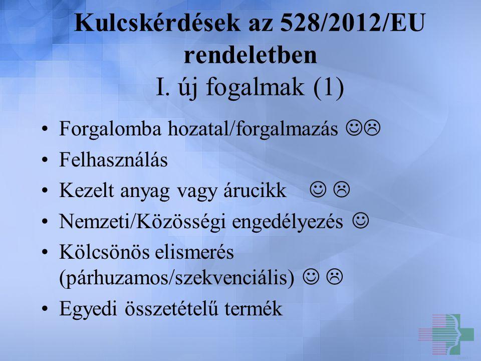 Kulcskérdések az 528/2012/EU rendeletben I. új fogalmak (1)