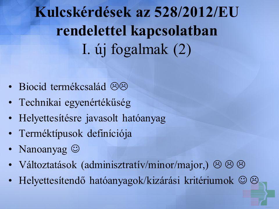Kulcskérdések az 528/2012/EU rendelettel kapcsolatban I