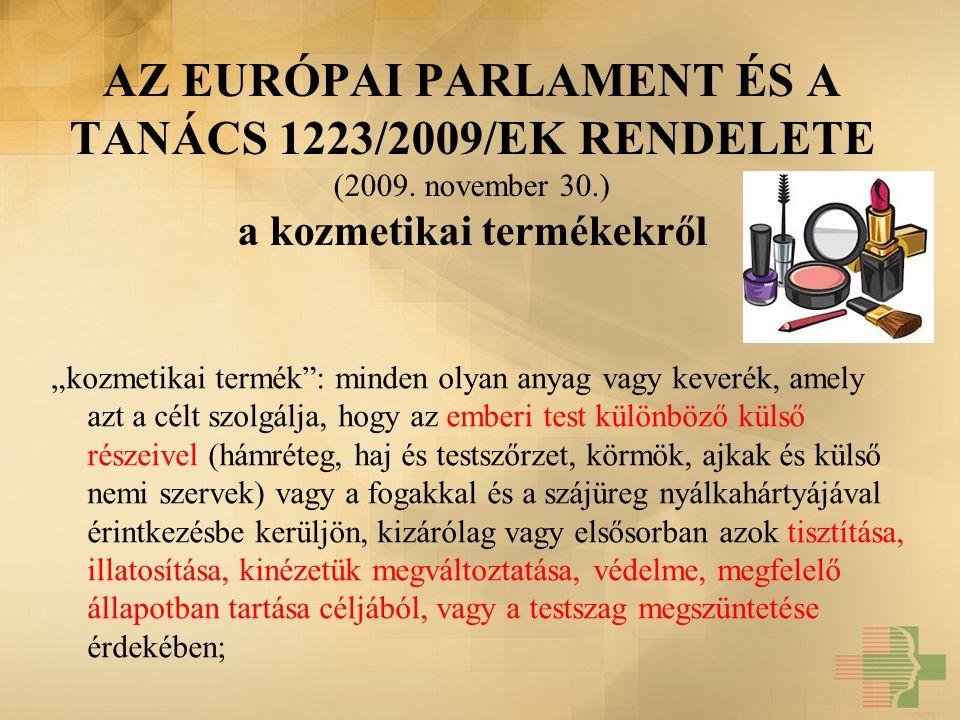 AZ EURÓPAI PARLAMENT ÉS A TANÁCS 1223/2009/EK RENDELETE (2009