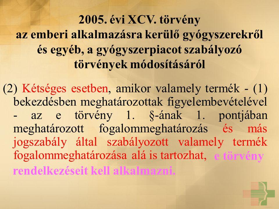 2005. évi XCV. törvény az emberi alkalmazásra kerülő gyógyszerekről és egyéb, a gyógyszerpiacot szabályozó törvények módosításáról