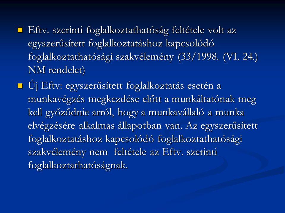 Eftv. szerinti foglalkoztathatóság feltétele volt az egyszerűsített foglalkoztatáshoz kapcsolódó foglalkoztathatósági szakvélemény (33/1998. (VI. 24.) NM rendelet)