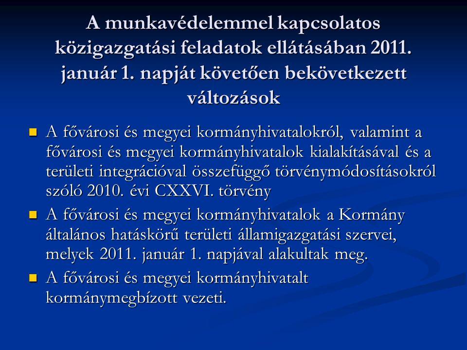 A munkavédelemmel kapcsolatos közigazgatási feladatok ellátásában 2011