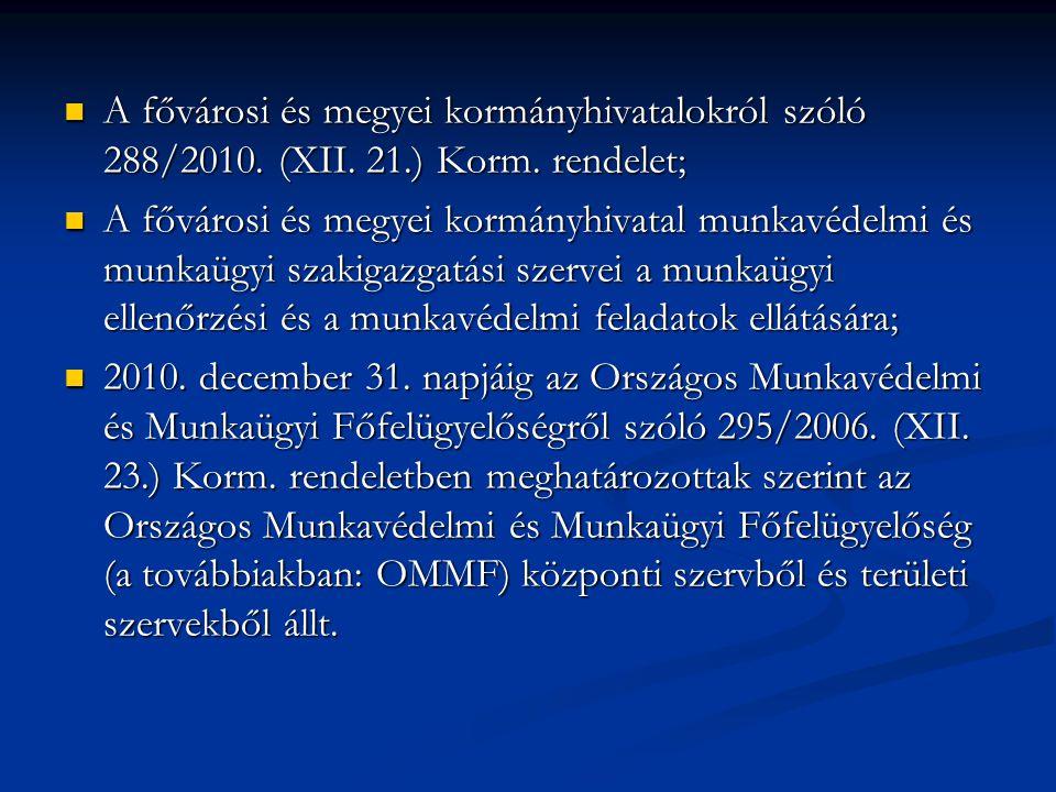 A fővárosi és megyei kormányhivatalokról szóló 288/2010. (XII. 21