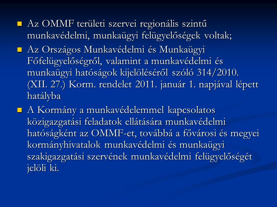 Az OMMF területi szervei regionális szintű munkavédelmi, munkaügyi felügyelőségek voltak;