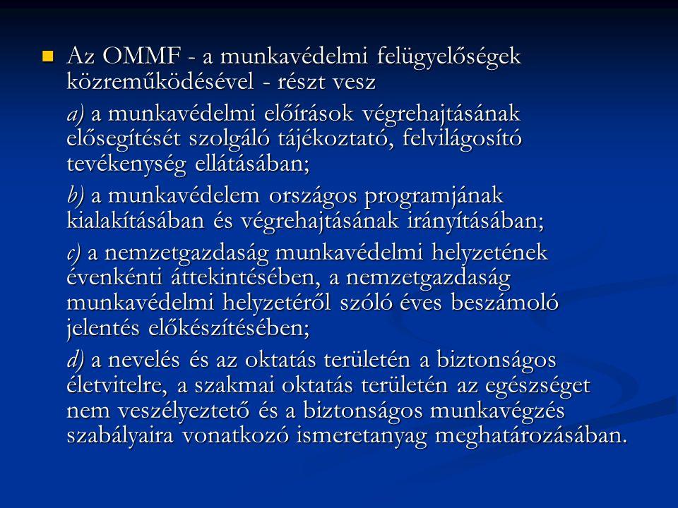 Az OMMF - a munkavédelmi felügyelőségek közreműködésével - részt vesz