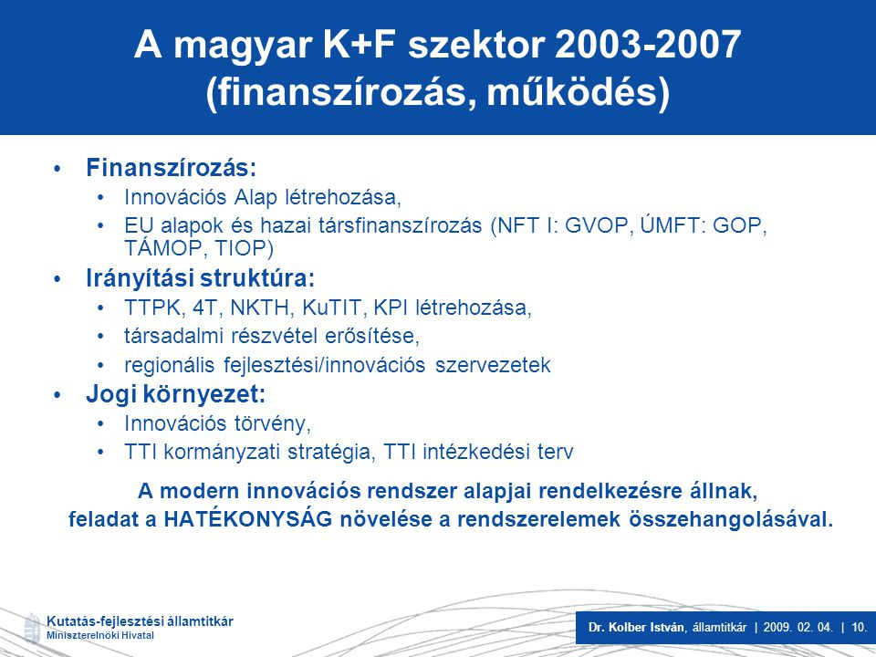 A magyar K+F szektor 2003-2007 (finanszírozás, működés)