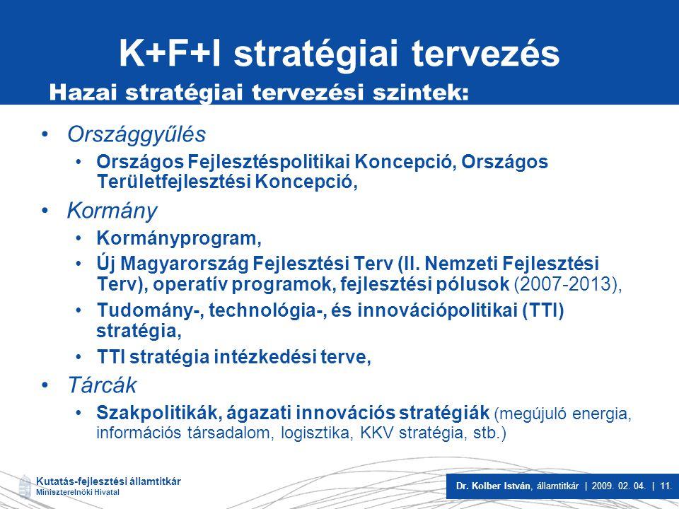 K+F+I stratégiai tervezés