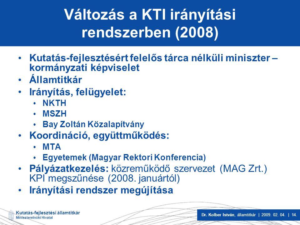 Változás a KTI irányítási rendszerben (2008)