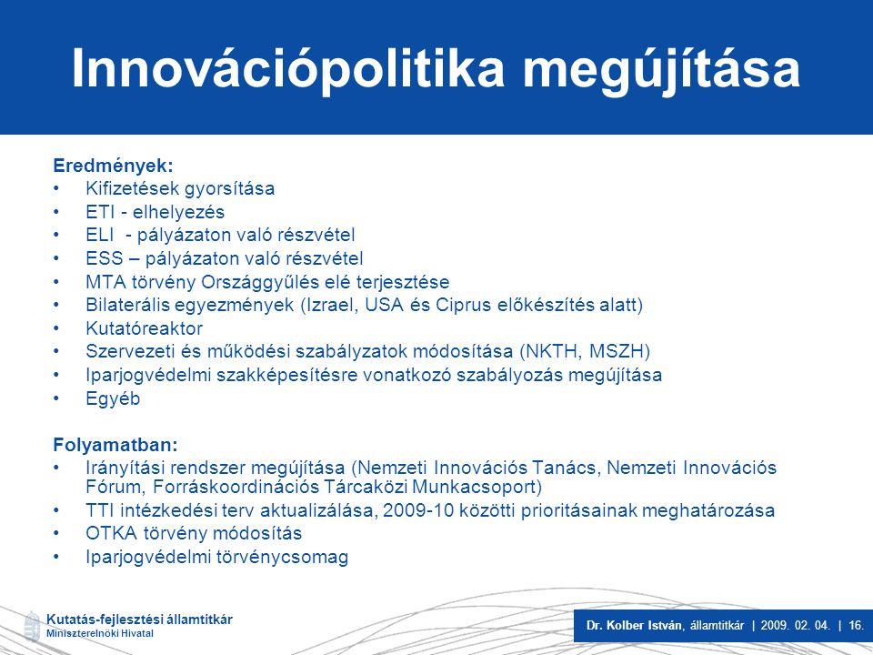 Innovációpolitika megújítása