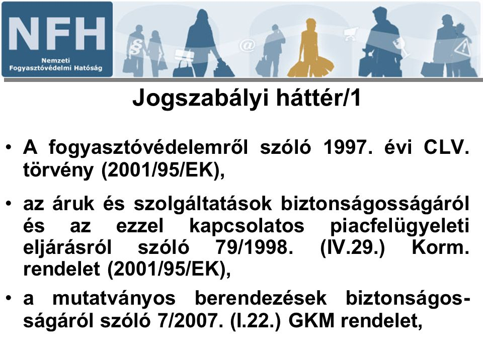 Jogszabályi háttér/1 A fogyasztóvédelemről szóló 1997. évi CLV. törvény (2001/95/EK),