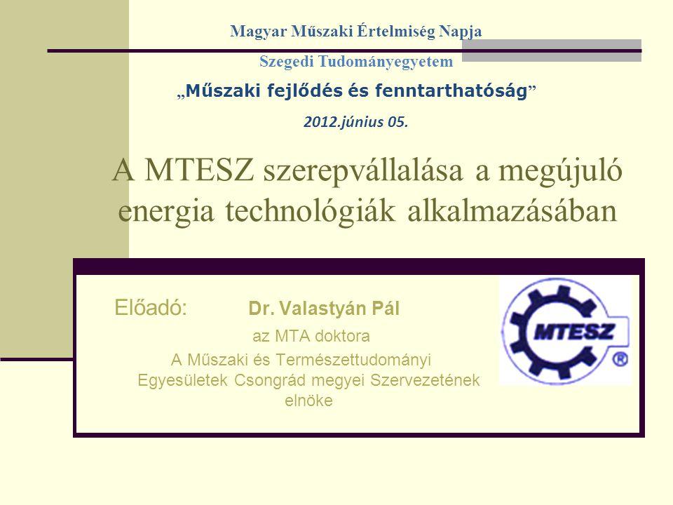 A MTESZ szerepvállalása a megújuló energia technológiák alkalmazásában