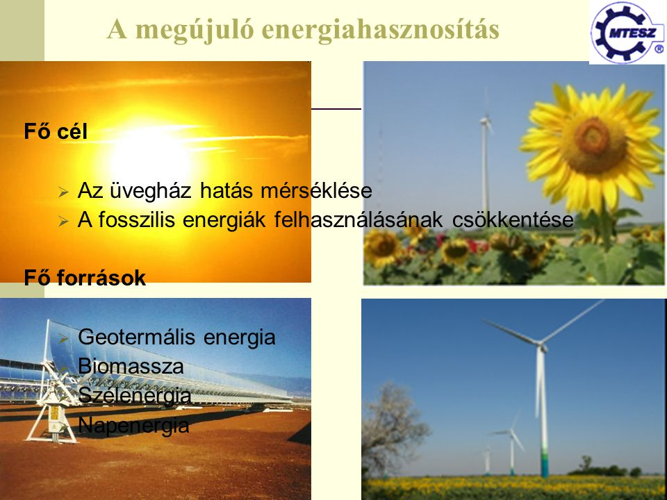 A megújuló energiahasznosítás