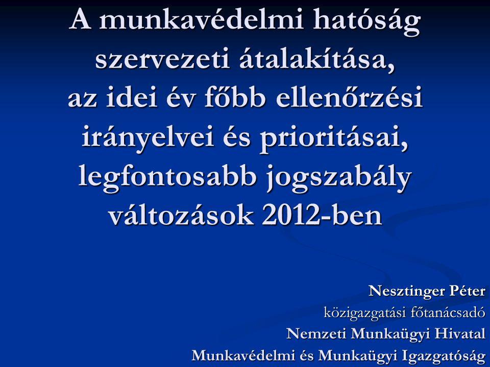 A munkavédelmi hatóság szervezeti átalakítása, az idei év főbb ellenőrzési irányelvei és prioritásai, legfontosabb jogszabály változások 2012-ben