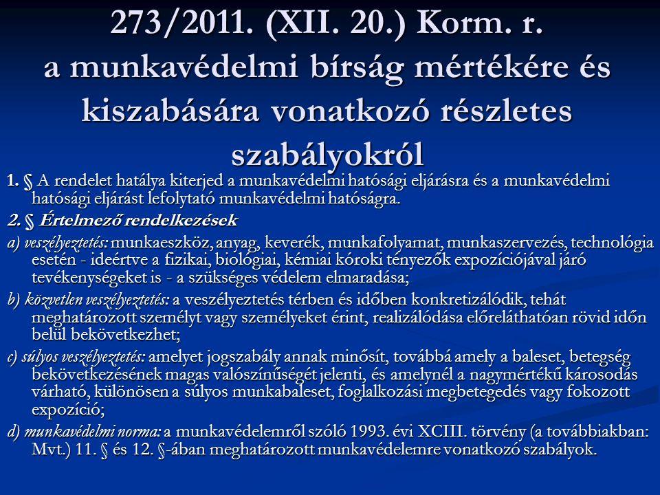 273/2011. (XII. 20.) Korm. r. a munkavédelmi bírság mértékére és kiszabására vonatkozó részletes szabályokról