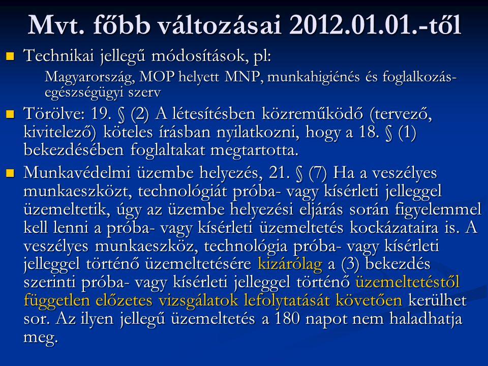 Mvt. főbb változásai 2012.01.01.-től